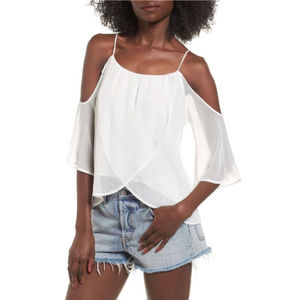 LUSH White Layered Cold Shoulder Top NWT S